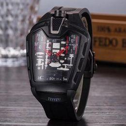 ленточные часы Скидка 2018 Hot selling fashion hollow ghost head with silicone tape quartz men's watch imitation mechanical watch