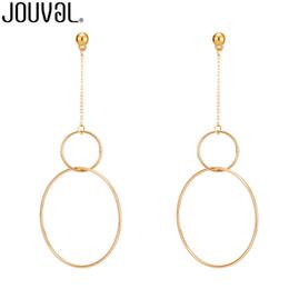 Tüm saleJOUVAL 2017 Yeni Avrupa Kadınlar için Abartılı Aros Büyük Hoop Küpe Çift Yuvarlak Daire Kolye Uzun Küpe Brincos Takı supplier double circle earrings nereden çift daire küpeleri tedarikçiler