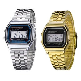 Wholesale Digital Clock Date Time - Multifunction Led Stainless Steel Gold Watch Alarm Clock Whole Time Running Boy Student Watch Male Clock Relogio Masculino