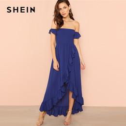 20187 SHEIN Blue Party Elegant Sexy Backless Shirred Panel Asymmetrical  Ruffle Hem Wrap Bardot Maxi Dress Summer Women Going Out Dress 4429a7451b8c