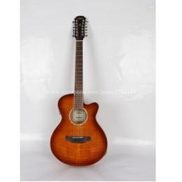 """fretless gitarren Rabatt 12 Saiten Gitarre, Cutaway 40 """"Akustische Gitarren, Flamme Maple Top / Mahagoni Body guitarra eletrica Mit LCD Pickup, E-Gitarren"""