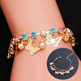 vintage christmas bells Promo Codes - Colorful Diamond Mosaic Crystal Bracelet Butterfly Vintage Bell Ethnic Jewelry Bangle Cuff Bangle Gifts Support FBA Drop Shipping H86F