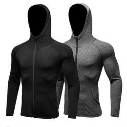 Manga longa camisa esporte homens chapéu + zipper correndo camisetas ginásio sports clothing esporte top dos homens sportswear jaqueta de secagem rápida de