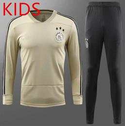 giovanissimi tuta da bambini Sconti calcio Survêtement 2018 2019 KIDS di alta qualità Camisetas tute da tennis allenamento giallo Beige city Ajax tute da calcio manica lunga