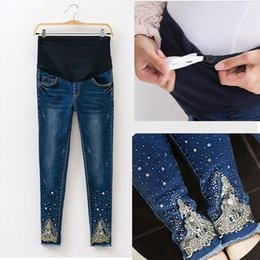 0d25f17b2 Cintura elástica Agujero Estiramiento Denim Maternity Belly Jeans Otoño  Primavera Pantalones Ropa para mujeres embarazadas Pantalones de lápiz de  embarazo ...