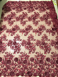 Wholesale wine colored lace fabric - QDY1030 (5yards pc)wine red Wonderful African French net lace fabric with beautiful 3D flowers and diamond stones for party dress
