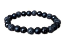 Pulsera de piedra de ónix negro online-12 unids / lote pulsera de onyx negro piedra lava curación energía energía pulsera