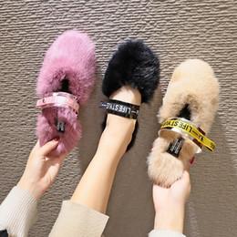 2019 filles pantoufles Couleur unie fourrure mules chaussures femmes hiver lettre imprime bande fermée orteil plat chaud pantoufles filles célébrité paresseux tongs chaussures promotion filles pantoufles