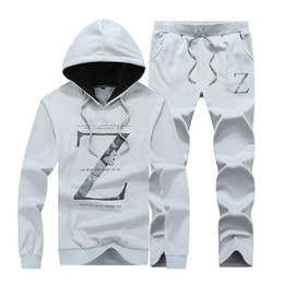 Wholesale Korean Xxl Clothes - Wholesale- Korean fashion men's hooded casual sports suit spring and autumn long-sleeved pullover jacket baseball clothing