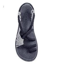 Sexy envío gratis cuerda nudo clip-toe sandalias planas rojo verde color negro tamaño 35-44 sandalias de mujer 464 desde fabricantes