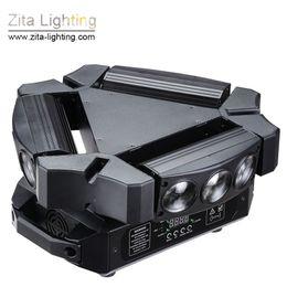 Luce di movimento del ragno online-Zita Lighting 9 Eyes Spider light LED Luci a testa mobile Triangolo rotante 9X12W RGBW Scanner Beam Stage DMX512 Disco DJ Christmas Effect
