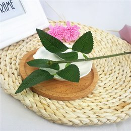 Wholesale Wholesale Silk Leaves - 50 PCS (25 cm) Artificial rose stems Simulation Of Artificial Plastic Stem Leaves Rose Stem Silk Wedding Decoration Holding a Rose Flower