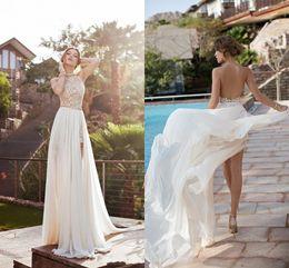 Wholesale halter top chiffon evening gown - 2018 Halter Lace Top Sexy Backless Beach Prom Dresses Empire Waist A Line Beading Waist Split Evening Gown Boho Dresses