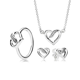 Canada EDELL YCS 100% 925 Sterling Silver Rubans of Love Coffret Cadeau Collier Charmes Anneaux Fit DIY Original Bijoux Un Ensemble Offre