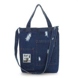 3ec95589b857 New 2018 Fashion Women Canvas Denim Tote Large Capacity Handbags Shopping  Book Student Organizer Shoulder Bag Women Zipper Tote