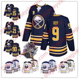 Wholesale Black Jack Player - Buffalo Sabres 2018 #9 Evander Kane 15 Jack Eichel 21 Kyle Okposo 90 Ryan O'Reilly White Navy Retired Player Stitched Hockey Jerseys S-3XL