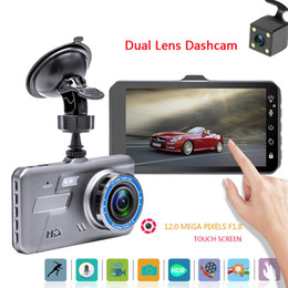 Wholesale rearview camera parking sensor - 4.0 inches touch screen car DVR black box 2Ch video dashcam full HD 1080P 170° wide view angle HDR G-sensor parking monitor
