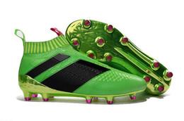 Wholesale Footbal Boots - 2018 ACE 16+ PureControl FG chuteiras de futebol Menss Soccer cleats Shoes Boots Men Cleats Footbal training sports sneakers
