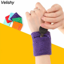 Wholesale Supporting Letter - Velishy 1PC Wrist Guard Protector Money Coin Bag 6Colors Zip Wrist Support Brace Zip Wallet