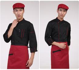 Argentina Delantal de la camisa del chef de los hombres Delantal de la ropa del uniforme general del hotel Bolsillo con doble botonadura Elegante supplier chefs clothes Suministro