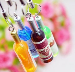 Wholesale Beer Bottle Charms - Small wine bottle wine cell phone pendant key chain key ring beer bottle creative Korea jewelry gifts gifts