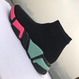 Wholesale sport ankle boots for women - 2018 New Sock Boots High Quality Speed Trainer Running Shoes For Men And Women Sports Shoes Speed Stretch-Knit Mid Casual Sneaker