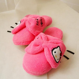 Wholesale Soft Soled Indoor Shoes - Winter Soft Sole Shoes Novelty Cat Cartoon Plush Warm Home Slippers for Girls Boys, Pink, Hot Pink Thermal Indoor Slippers
