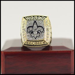 Wholesale christmas shipping gift box - The Newest 2009 New Orleans Saint s Championship Ring With Wooden Box Fan Gift wholesale Drop Shipping ALL SIZES AVAILABLE