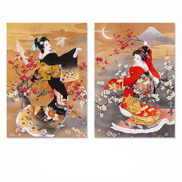 Wholesale Kimono Decoration - Japan style Black Red Kimono lady pictures home decoration Plum flower Canvas Painting wall Art living room unframed