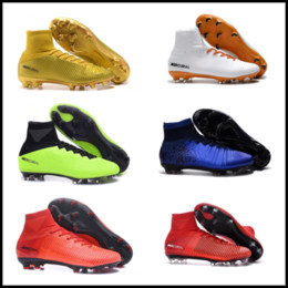 Wholesale Genuine Leather Boots Kids - New 2018 CR7 Football Boots Mercurial Superfly V AG FG Soccer Shoes Mens Women Kids Outdoor Soccer Cleats Size 38-45