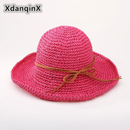 XdanqinX Summer Women s Hat Hollow Raffia Straw Sun Hats For Women Foldable  Small Fresh Lady Beach Hat Fashion Brand Female Cap ccc567d5aea9