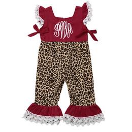 Mono leopardo niños online-Cute Toddler Baby girls ropa Leopardo carta de impresión de encaje Ruffle casual Romper niños sin mangas de cuello cuadrado Mono de una pieza
