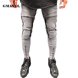 315e67f2c4 pantalones Rebajas 2018 New Grey Jeans hombres dobladillo con cremallera  estiramiento de la rodilla Ripped Biker