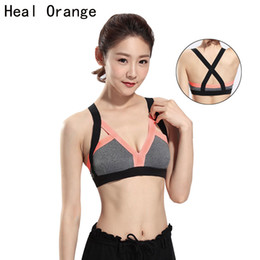 Wholesale heal up - HEAL ORANGE Fitness Sports Bra Top For Women Yoga Bras Sexy Cross Backless Sport Top Vest Patchwork Tank Gym Running Push up