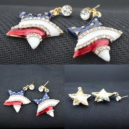 Kristalle usa online-Amerikanische Flagge Ohrstecker Fünfzackigen Stern Imitation Diamant Ohrringe Miniatur USA Flagge Ohrringe für Frauen Silber Kristall Freies DHL H154R
