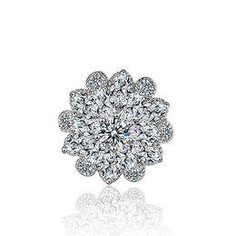 Модный букет онлайн-XZ016 серебряный тон ясно горный хрусталь Кристалл брошь цветок девушки корсаж мода брошь свадебный букет булавки броши броши