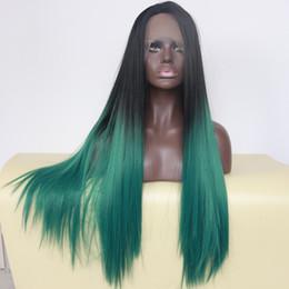 peluca rizada ombre azul blanco Rebajas Ombre Negro Verde Azul Verde Peluca delantera del cordón sintético Cosplay Ombre Peluca verde oscuro Pelucas sintéticas resistentes al calor rectas sedosas