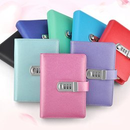 Wholesale Notebook Products - NEW Spiral notebook Leather diary with lock code notepad stationery products supplies creative Trends 100 sheets paper gift