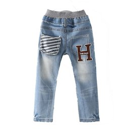 Wholesale trousers classical - Spring Autumn Soft Classical Boys Jeans Kids Pants Denim H Letters Baby Children Trousers Clothing 2018 T1 2118DCO