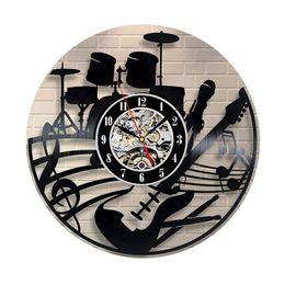Relógio de Parede de alta Qualidade CD Record Design Moderno Tema Musical Decoração de Casa Relógios de Arte para Sala de estar Quarto @ LS JY06 de