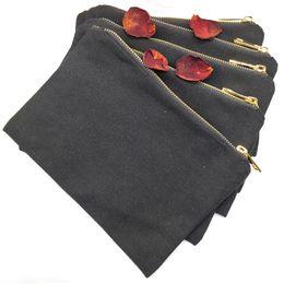 Serigrafia metallo online-100 pz / lotto 12 once spessa borsa di tela nera con zip in metallo dorato fodera oro vuoto sacchetto cosmetico sacchetto di cortesia per il fai da te / serigrafia