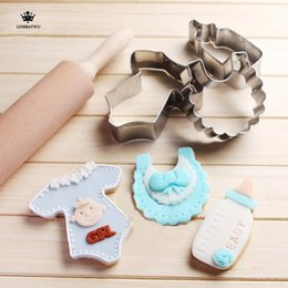 Wholesale Baby Cookie Cutters - Free Shipping Stainless Steel DIY Baby Shower Bottle Bib Cookie Cutter Mold Cake Chrismas Bottle Cake Kitchen Tool