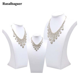 Wholesale white necklace bust - White PU leather Necklace Display Model Bust Shelf Accessories Holder Jewelry Rack Jewellery Stand Pendant Display Show 2018 New