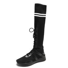 Stivali alti ginocchio online-2018 New Winter Slim Shoes Donna Sexy Over The Knee High Boots Donna Stretch Lace up a coscia alta da donna