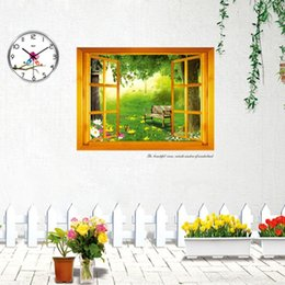 Wholesale Window Wall Decal Vinyl View - Hot Home Decoration Art Vinyl Mural Wall Sticker Window Forest View Decal Paper