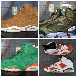 Wholesale Fly Halloween - 2018 Air Gatorade 6 Green Basketball Shoes For Men Women Retros 6s Wheat Flying Jacket White Red Mens Trainers Sneakers Size 36-47 WithBox