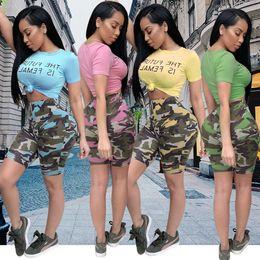 2019 déguisement de la boite de nuit Camo Summer Women Crop Top Shorts Sports Costumes Imprimer Lettre Pantalon Court Leggings T-shirt Survêtement Trendy Sexy NightClub Wear Pour Fille Lady déguisement de la boite de nuit pas cher