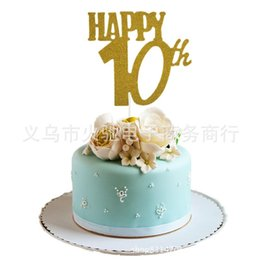 Golden 1pcs 50th Cake Topper Happy Birthday Party Decoration Toppers Birth For Girl Boy