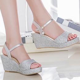 cad94997f4f8d7 Womens female summer style elgant silver gold glitter bling peep toe wedges  high heels sandals lady sandal plus size 42 43 F8