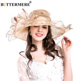 2019 женские солнцезащитные шлемы BUTTERMERE женщины Sun Hat большой цветок бежевый дамы шляпы свадьба элегантный Леди широкие поля женские солнцезащитные шапки лето 2018 скидка женские солнцезащитные шлемы